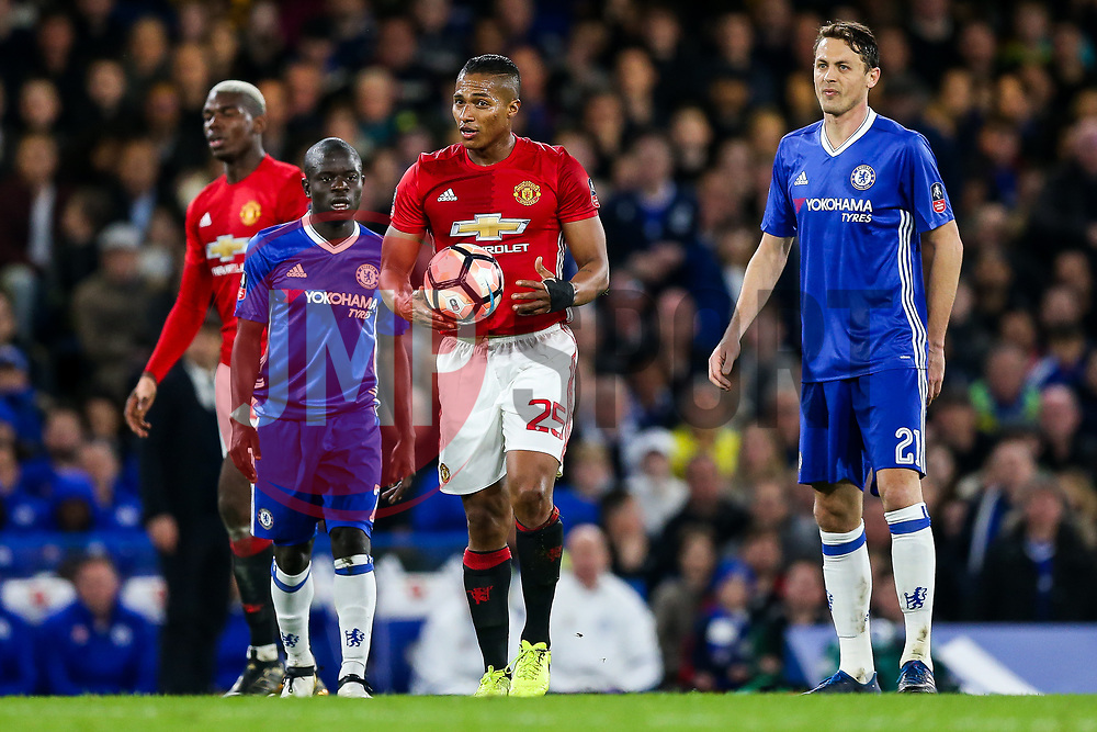 Luis Antonio Valencia of Manchester United looks frustrated - Rogan Thomson/JMP - 13/03/2017 - FOOTBALL - Stamford Bridge - London, England - Chelsea v Manchester United - FA Cup Quarter Final..