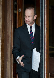 © Licensed to London News Pictures. 22/01/2018. Folkstone, UK. UKIP Leader HENRY BOLTON emerges from the doorway of his hotel to give a statement to the media outside following a series of resignations within the party. Bolton, who has only been leader of UKIP since September 2017, has come under pressure following unfavourable stories in the press about his personal life and the behaviour of his former girlfriend Jo Marney. Photo credit: Peter Macdiarmid/LNP