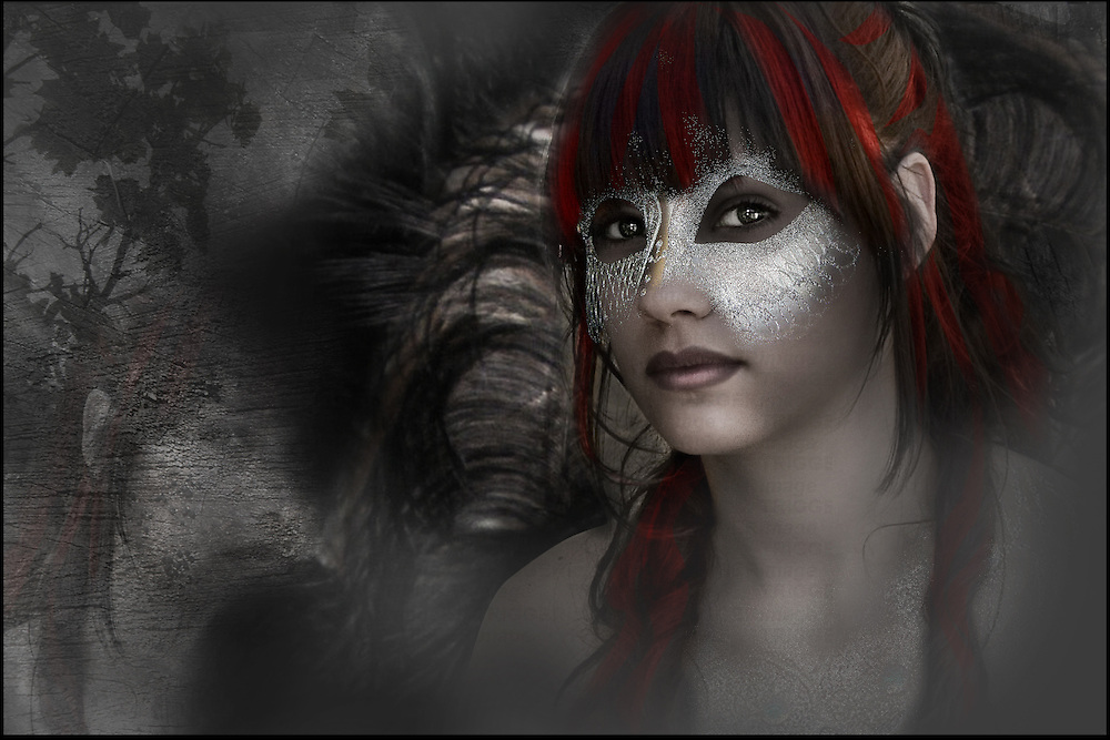 fantasy image of a young woman wearing a mask looking at the camera