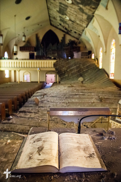The sanctuary at Immanuel Lutheran Church, St. Charles, Mo., on Monday, June 4, 2018. The entire baptismal side of the sanctuary interior ceiling collapsed May 29 at 1.29 a.m. in the morning. No one was injured in the collapse. LCMS Communications/Erik M. Lunsford