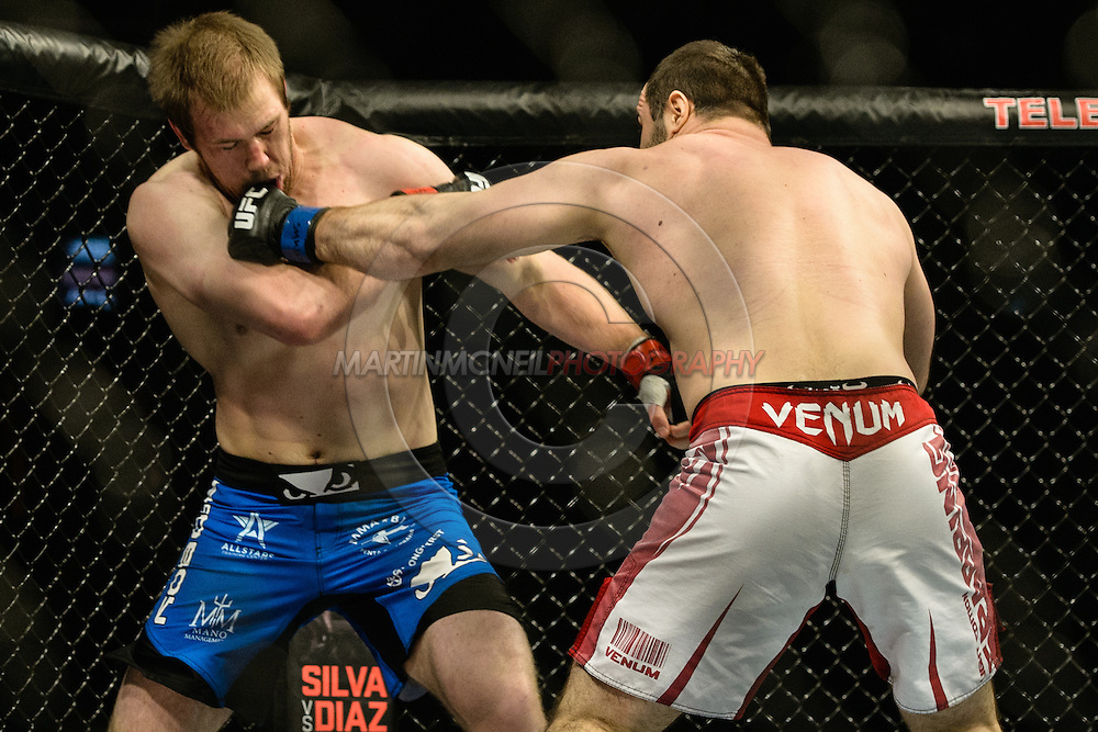 "STOCKHOLM, SWEDEN, JANUARY 24, 2015: Viktor Pesta and Konstantin Erokhin during ""UFC on Fox 14: Gustafsson vs. Johnson"" inside Tele2 Arena in Stockholm, Sweden"