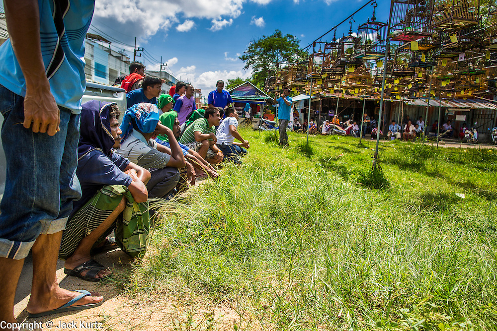 30 OCTOBER 2012 - YALA, YALA, THAILAND:  Spectators and bird owners at a songbird contest in Yala, province of Yala, Thailand. Bird singing contests are popular in Thailand, Malaysia and Indonesia. Owners call to their birds to try to make them sing better, while judges grade the birds on the clarity of its call. The songbird contest season is January to July, but small contests are held throughout the year.      PHOTO BY JACK KURTZ