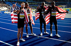 Team of United States (Jeremy Wariner, Angelo Taylor, LaShawn Merritt and  Kerron Clement)  celebrates winning the gold medal in the men's 4x400 Metres Relay Final during day nine of the 12th IAAF World Athletics Championships at the Olympic Stadium on August 23, 2009 in Berlin, Germany. (Photo by Vid Ponikvar / Sportida)