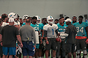 Miami Dolphins Brian Flores address his team prior to indoor practice during training camp at the Baptist Health Training Facility at Nova Southeastern University, Friday, August 2, 2019, in Davie, Fla. (Kim Hukari/Image of Sport)