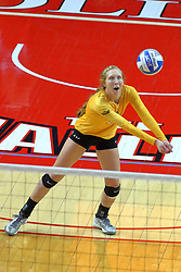 23 November 2017:  Allison Ketcham during a college women's volleyball match between the Valparaiso Crusaders and the Illinois State Redbirds in the Missouri Valley Conference Tournament at Redbird Arena in Normal IL (Photo by Alan Look)