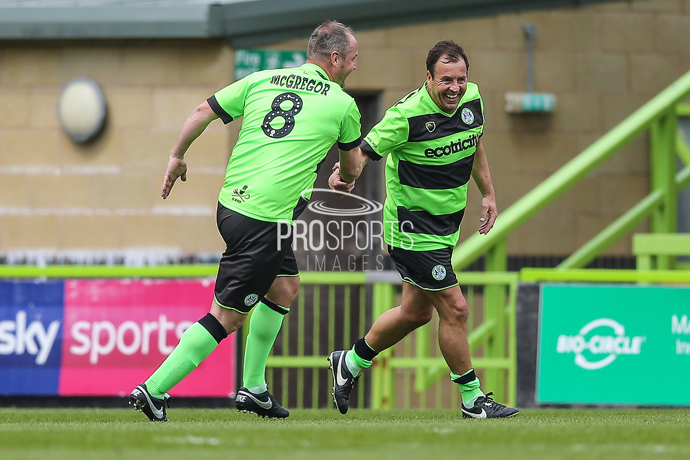 Forest Green Legends Paul Hunt scores a goal 1-0 and celebrates with Forest Green Legends Marc McGregor during the Trevor Horsley Memorial Match held at the New Lawn, Forest Green, United Kingdom on 19 May 2019.