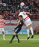 Dundee's Thomas Konrad is beaten in the air by Hamilton's Mikey Devlin - Hamilton Academical v Dundee, SPFL Premiership at New Douglas Park<br /> <br />  - &copy; David Young - www.davidyoungphoto.co.uk - email: davidyoungphoto@gmail.com