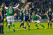Paul Hanlon (#4) of Hibernian FC turns to celebrate as he scores a goal to make it 2-1 to Hibs during the Ladbrokes Scottish Premiership match between Hibernian FC and Hamilton Academical FC at Easter Road Stadium, Edinburgh, Scotland on 22 January 2020.