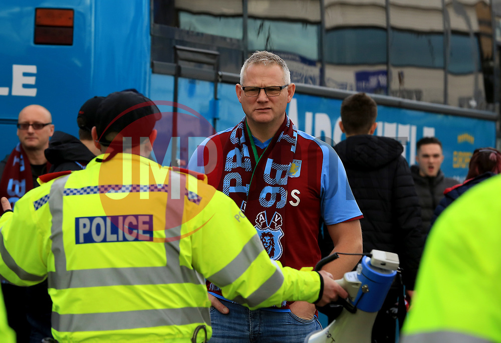 A Aston Villa stares at Birmingham City supporters as the police trie to move him on - Mandatory by-line: Paul Roberts/JMP - 29/10/2017 - FOOTBALL - St Andrew's Stadium - Birmingham, England - Birmingham City v Aston Villa - Skybet Championship