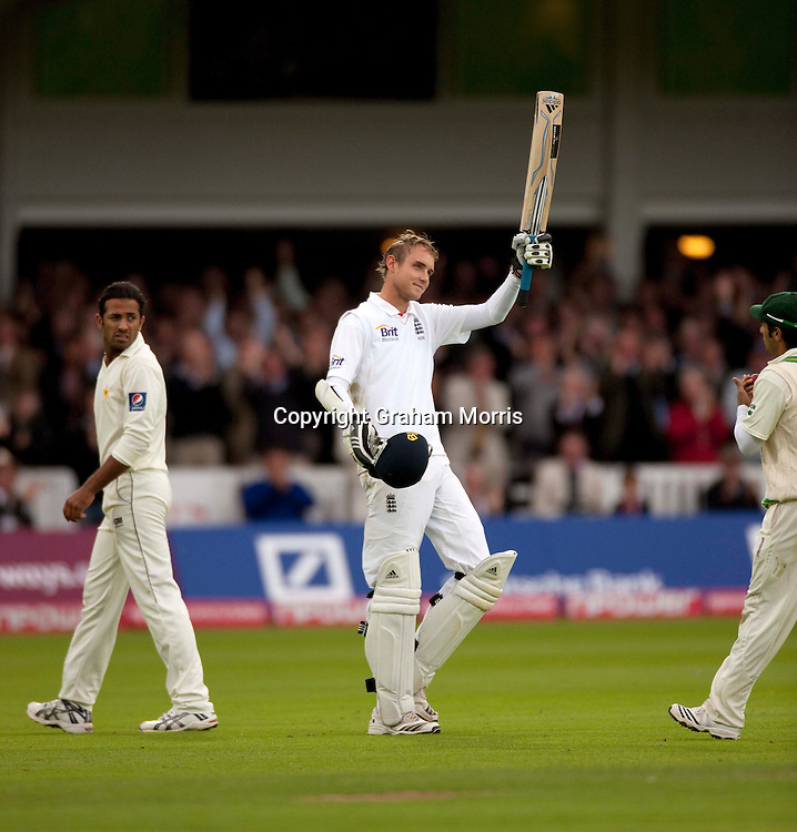Stuart Broad celebrates his maiden Test century during the final npower Test Match between England and Pakistan at Lord's.  Photo: Graham Morris (Tel: +44(0)20 8969 4192 Email: sales@cricketpix.com) 27/08/10