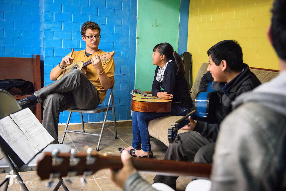 Tyler McMiller, LCMS missionary to Mexico, leads catechesis and a music lesson to young adults at the Lutheran Church of The Good Shepherd on Saturday, Feb. 13, 2016, in Mexico City, Mexico. LCMS Communications/Erik M. Lunsford