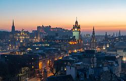 Edinburgh, Scotland, UK. 26 February, 2019. View at sunset over famous Edinburgh skyline from Calton Hill in Edinburgh , Scotland, UK