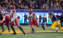 Nov 23, 2018; Morgantown, WV, USA; Oklahoma Sooners running back Kennedy Brooks (26) runs the ball during the fourth quarter against the West Virginia Mountaineers at Mountaineer Field at Milan Puskar Stadium. Mandatory Credit: Ben Queen-USA TODAY Sports