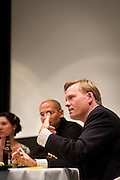 Emily Bazelon, David Plotz, and John Dickerson at Grinnell College for the taping of Slate's Political Gabfest on December 7, 2011.