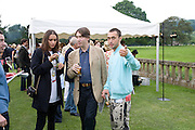 FRAN HICKMAN, THE MARQUESS OF CHOMONDELEY AND DAN MACMILLAN, The Artists' Playground. Reconstruction 3: Contemporary Art at Sudeley Castle, 2008 In partnership with Phillips de Pury & Company and supported by Chanel. 31 May 2008. *** Local Caption *** -DO NOT ARCHIVE-© Copyright Photograph by Dafydd Jones. 248 Clapham Rd. London SW9 0PZ. Tel 0207 820 0771. www.dafjones.com.
