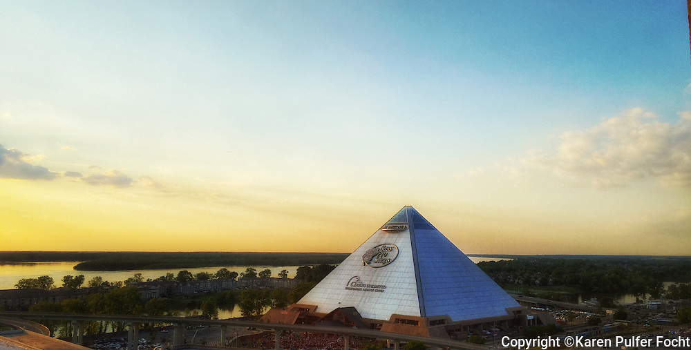 The Memphis Pyramid which now home to the new tourist destination in Memphis, Bass Pro Shop. The Pyramid sits just off the Mississippi River. The Bass Pro shop contains shops, a hotel, bowling alley, shooting range and observations deck and restaurant.