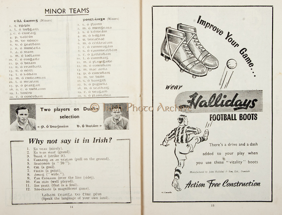All Ireland Senior Hurling Championship Final,.Brochures,.05.09.1948, 09.05.1948, 5th September 1948, .Waterford 6-7, Dublin 4-2, .Minor Kilkenny v Waterford, .Senior Dublin v Waterford, .Croke Park, ..Kilkenny Minor Team, S Toibin, L O Dubgaill, C O Crotaig, P Daltun, M De Roiste, D O Gealbain, N O Murcada, A O Riain, M O Loclainn, T O Congaile, P O Briain, R O Cearbaill, R O Neill, L O h-Obain, M O Cuileandar, L O Meacair, P O Feargail, S TO Dublainn, L Binerd, T O Concubair, ..Waterford Minor Team, S O Floinn, M O Muirgeasa, S O h-Eroeain, M O h-Ogain, U Breatnac, M O Ceilleacair, T O Cuinneagain, S O Caoinroealbain, T O Galleobair, L O Connmaig, M O Flanngaile, M O Concubair, M Mac Aoda, P O Concubair, M De Brun, S O Baoigill, B O Fogluda, M O Sealbaig, T O Deagard, S O Flannabra, ..Advertisements, Why not say it in Irish?, Hallidays Football Boots,