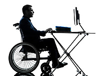 one handicapped business man computing laptop computer in silhouette studio on white background