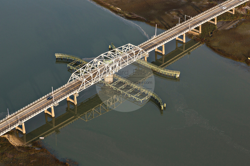 Aerial view of the Sullivan's Island swing bridge connecting Sullivan's Island to Mount Pleasant, SC.