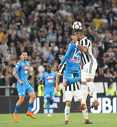 April 22, 2018 - Torino, Piemonte, Italy - in the picture: the player of Benatia of Juventus wins a contrast against mertens of Naples.22 April 2018 - Turin, Italy - final match between F.C. Juneventu and SSC Napoli, at the Allianz Stadium in Turin, which is awarded the Scudetto in Serie A in Italy..Napoli wins 1-0. (Credit Image: © Fabio Sasso/Pacific Press via ZUMA Wire)
