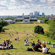 Greenwich Park on a sunny summer's day. Taken from next to the Royal Observatory looking back over the National Maritime Museum and London City in the distance.