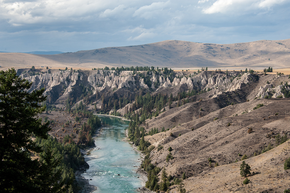 View of Flathead River from Kerr Dam looking west