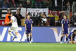 17.07.2011, Commerzbankarena, Frankfurt, GER, FIFA Women Worldcup 2011, Finale,  Japan (JPN) vs. USA (USA), im Bild:  .Torjubel / Jubel  nach dem 1:2 durch Abby Wambach (USA) (L). Yukari Kinga (Japan) und Mizuho Skaguchi (Japan) entaeuscht / entäuscht / traurig.. // during the FIFA Women Worldcup 2011, final, Japan vs USA on 2011/07/11, FIFA Frauen-WM-Stadion Frankfurt, Frankfurt, Germany.   EXPA Pictures © 2011, PhotoCredit: EXPA/ nph/  Mueller       ****** out of GER / CRO  / BEL ******
