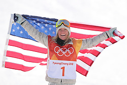 February 12, 2018 - Pyeongchang, South Korea - JAMIE ANDERSON of the U.S. celebrates after winning the ladies' snowboard slopestyle at the 2018 PyeongChang Winter Olympic Games at the Phoenix Snow Park. Anderson won the gold medal with 83.00 points. (Credit Image: © Fei Maohua/Xinhua via ZUMA Wire)