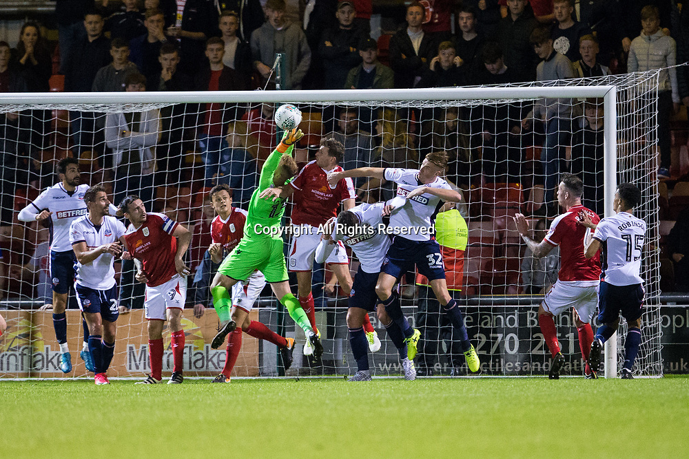 August 9th 2017, Gresty Road, Crewe, England; Carabao Cup First Round; Crewe Alexandra versus Bolton; Bolton Wanderers' goalkeeper Ben Alnwick makes a last minute save