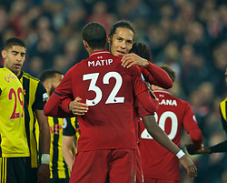LIVERPOOL, ENGLAND - Wednesday, February 27, 2019: Liverpool's Virgil van Dijk celebrates with Joel Matip after the FA Premier League match between Liverpool FC and Watford FC at Anfield. (Pic by Paul Greenwood/Propaganda)