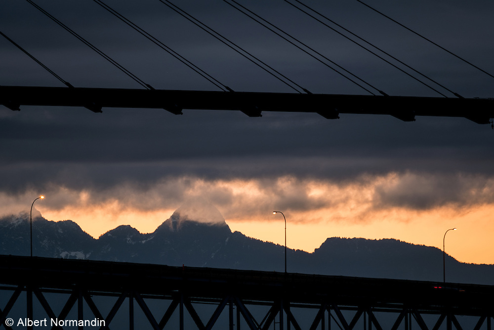 Golden Ears mountains, Skytrain bridge and Pattullo bridge,   New Westminster