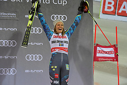 19.02.2019, Stockholm, SWE, FIS Weltcup Ski Alpin, Parallelslalom, Damen, Siegerehrung, im Bild Anna Swenn Larsson (SWE) // Anna Swenn Larsson of Sweden during the winner Ceremony for the ladie's parallel slalom of FIS ski alpine world cup at the Stockholm, Sweden on 2019/02/19. EXPA Pictures © 2019, PhotoCredit: EXPA/ Nisse Schmidt<br /> <br /> *****ATTENTION - OUT of SWE*****