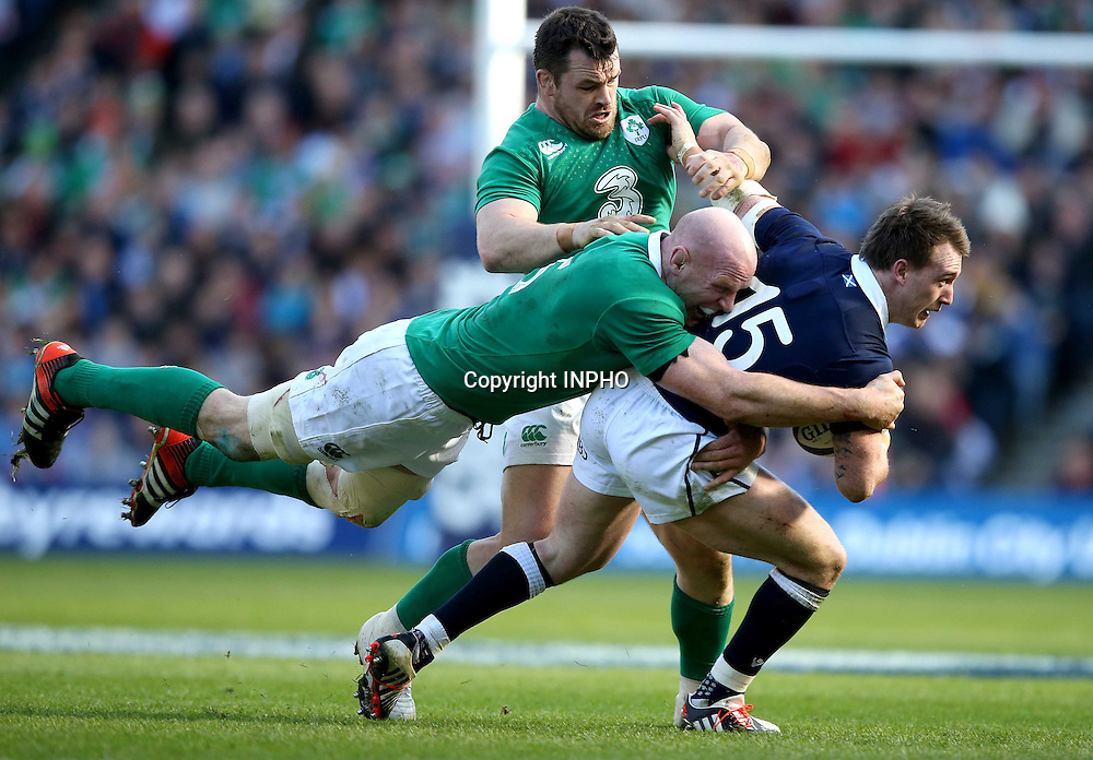 RBS 6 Nations Championship, BT Murrayfield, Edinburgh, Scotland 21/3/2015<br /> Scotland vs Ireland<br /> Ireland's Paul O'Connell and Cian Healy tackle Stuart Hogg of Scotland<br /> Mandatory Credit &copy;INPHO/Dan Sheridan