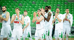 Players of Petrol Olimpija celebrate after winning during basketball match between KK Petrol Olimpija and KK Rogaska in Round #5 of Liga Nova KBM za prvaka 2018/19, on March 31, 2019, in Arena Stozice, Ljubljana, Slovenia. Photo by Masa Kraljic / Sportida
