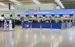 © Licensed to London News Pictures. 09/09/2019. London, UK. Heathrow Terminal 5 empty of passengers on the morning of a British Airways pilot strike. Almost all BA flights have been cancelled in pilot strike over pay. Balpa union has called a 48-hour walkout with further action planned for 27 September. Photo credit: Peter Macdiarmid/LNP