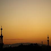 Egypt, Luxor. November/25/2008...Dusk silhouettes...