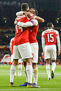 GOAL 3-1.Arsenal forward Pierre-Emerick Aubameyang (14) celebrates with teammate, Arsenal forward Alexandre Lacazette (9) after scoring a goal during the Europa League semi-final leg 1 of 2 match between Arsenal and Valencia CF at the Emirates Stadium, London, England on 2 May 2019.