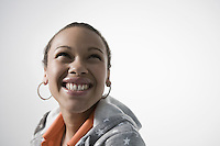 Young woman smiling close-up view