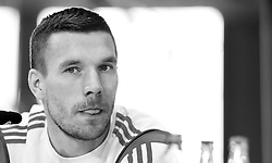 08.06.2015, Mercedes Benz Zenter, Koeln, GER, Nationalmannschaft, Pressekonferenz, im Bild Lukas Podolski (Inter Mailand) mit heraus gestreckter Zunge // during a press conference of the german national football team at the Mercedes Benz Zenter in Koeln, Germany on 2015/06/08. EXPA Pictures © 2015, PhotoCredit: EXPA/ Eibner-Pressefoto/ Schüler<br /> <br /> *****ATTENTION - OUT of GER*****