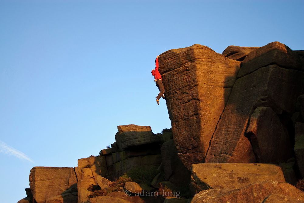 Alex Honnold soloing Simba's Pride, E8, Burbage South, Peak District