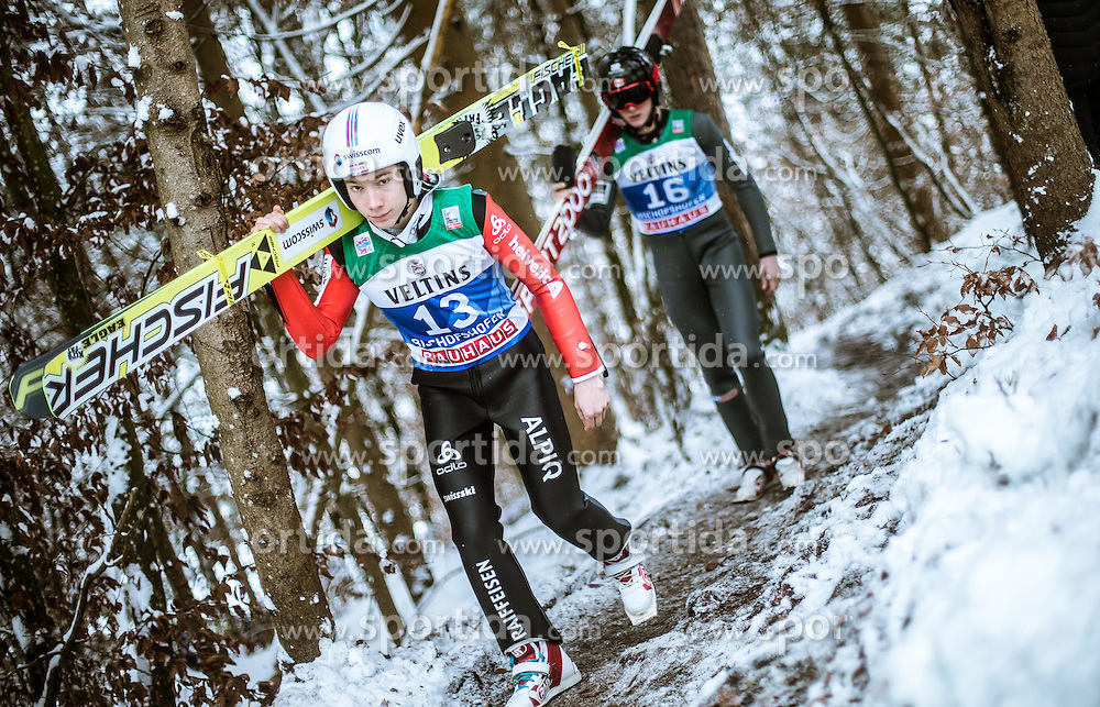 05.01.2015, Paul Ausserleitner Schanze, Bischofshofen, AUT, FIS Ski Sprung Weltcup, 63. Vierschanzentournee, Training, im Bild Gabriel Karlen (SUI) // during Training of 63rd Four Hills <br /> Tournament of FIS Ski Jumping World Cup at the Paul Ausserleitner Schanze, Bischofshofen, Austria on 2015/01/05. EXPA Pictures &copy; 2015, PhotoCredit: EXPA/ JFK