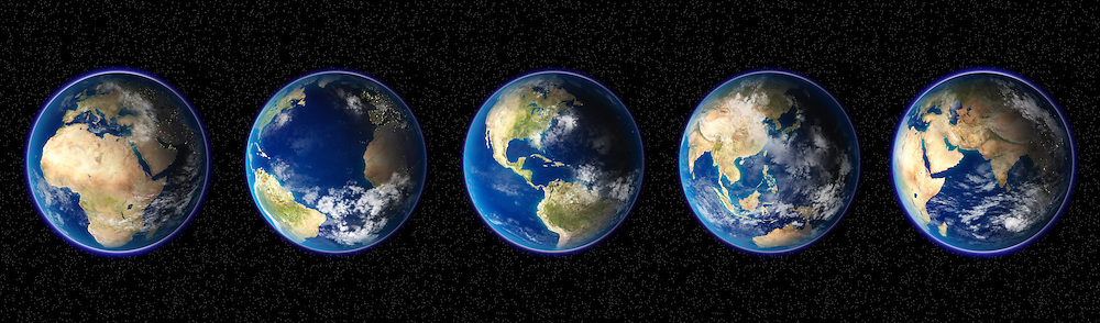 Row of Planet Earth's with different world continents.