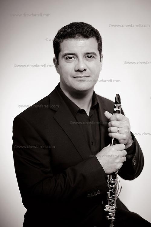 Yann Ghiro, clarinetist of The Hebrides Ensemble.<br /> <br /> Picture Drew Farrell<br /> Tel : 07721-735041.
