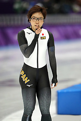 February 18, 2018 - Gangneung, South Korea - Gold medal winner NAO KODAIRA of Japan asks the crowd to be quiet during Speed Skating: Ladies' 500m at Gangneung Oval at the 2018 Pyeongchang Winter Olympic Games. (Credit Image: © Scott Mc Kiernan via ZUMA Wire)