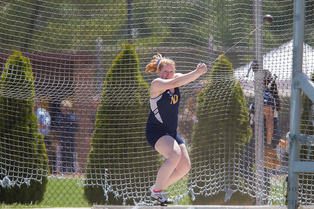 The College of New Jersey's Kristen VanBenschoten competes in the women's hammer throw at the NJAC Track and Field Championships at Richard Wacker Stadium on the campus of  Rowan University  in Glassboro, NJ on Saturday May 4, 2013. (photo / Mat Boyle)