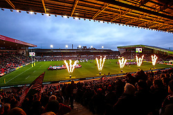 Welford Road is lit up by flames as Leicester Tigers enter the pitch to face Newcastle Falcons - Mandatory by-line: Robbie Stephenson/JMP - 27/04/2018 - RUGBY - Welford Road Stadium - Leicester, England - Leicester Tigers v Newcastle Falcons - Aviva Premiership
