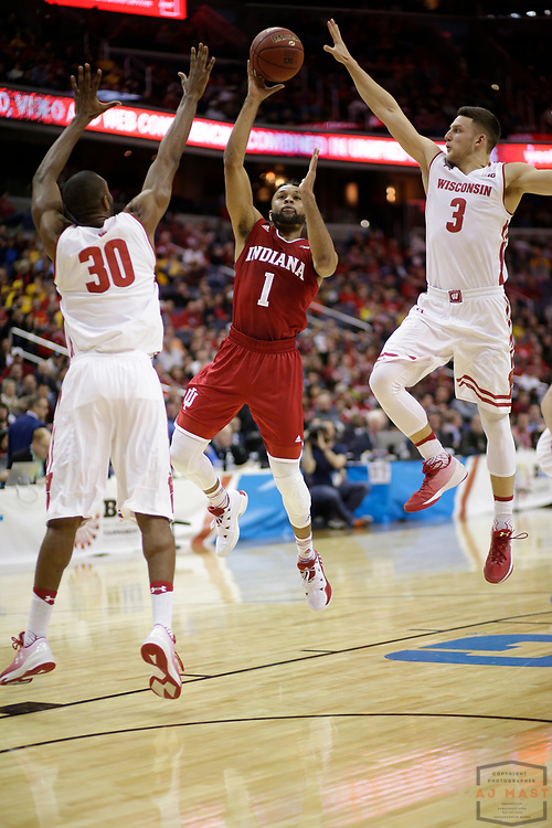 Indiana guard James Blackmon Jr. (1) in action as Indiana played Wisconsin in an NCCA college basketball game in the third round of the Big 10 tournament in Washington, D.C., Friday, March 10, 2017. (AJ Mast)