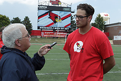 01 August 2017:   John Hayes interviewed by Steve Robinson during 2017 Illinois State Redbirds Football Media Day at Hancock Stadium in Normal IL (Photo by Alan Look)