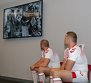 Thomas and George Burgess watch a tribute to WW1 during the official launch of the England Rugby League Remembrance Shirt at Imperial War Museum North, Trafford Park, Manchester<br /> Picture by Steve McCormick/Focus Images Ltd 07545 862647<br /> 15/10/2018