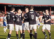 Steven Milne is congratulated after scoring Dundee's equaliser - Dundee v Kilmarnock, William Hill Scottish FA Cup 4th Round,..- © David Young - .5 Foundry Place - .Monifieth - .DD5 4BB - .Telephone 07765 252616 - .email; davidyoungphoto@gmail.com - .web; www.davidyoungphoto.co.uk.